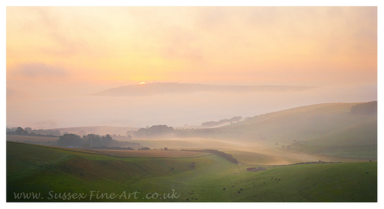 Steyning Bowl at Sunrise within the South Downs National Park